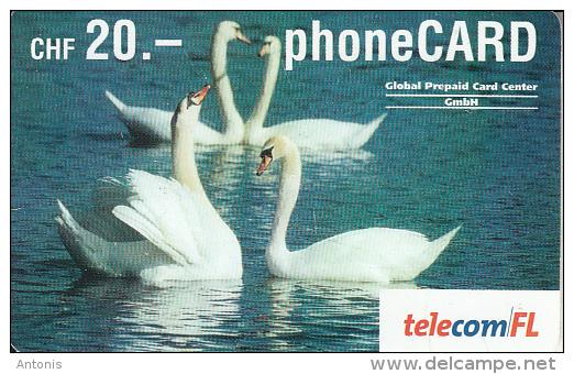 LIECHTENSTEIN - Swans, Telecom FL Prepaid Card CHF 20, Exp.date 07/05, Used - Liechtenstein