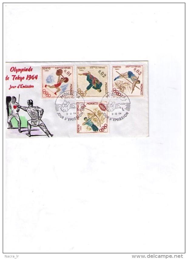 FDC MONACO OLYMPIADE DE TOKYO 1964 OLYMPICS GAMES OLYMPICH JEAUX OLYMPIQUES FENCING HALTEROPHILIE JUDO SAUT A LA PERCHE - Verano 1964: Tokio