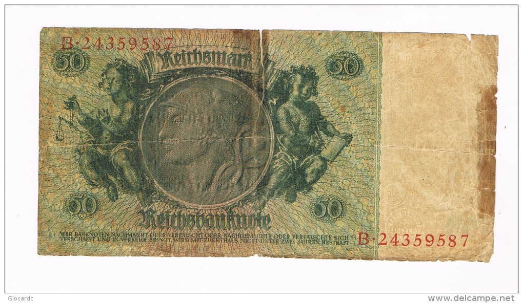 GERMANIA (GERMANY) -  TERZO REICH:     50 REICHSMARK SERIE B 30.03.1933 - 50 Reichsmark