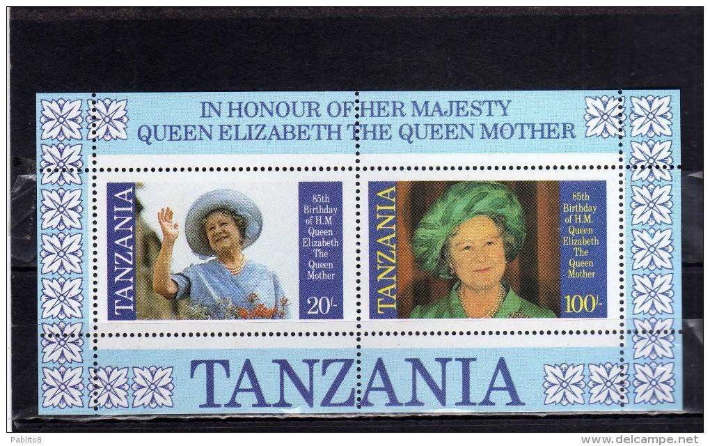 TANZANIA 1985 QUEEN MOTHER ROYAL FAMILY REGINA MADRE SHEET BLOCK BLOCCO FOGLI...