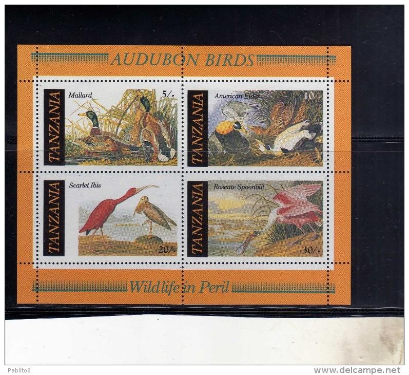 TANZANIA 1986 FAUNA BIRDS UCCELLI MALLARD AMERICAN EIDER SCARLET IBIS ROSEATE...
