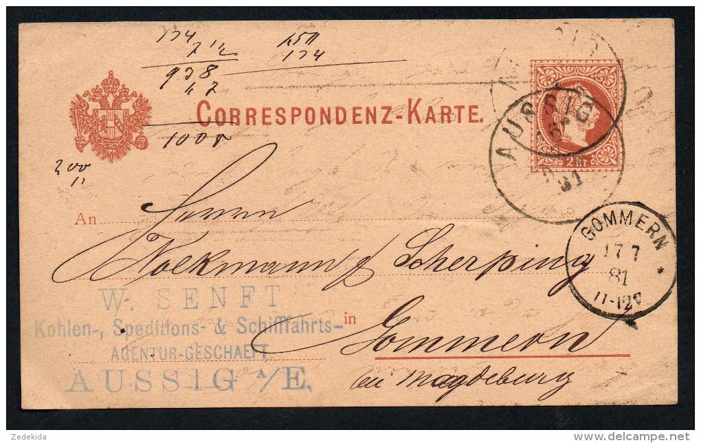2422 - Alte Postkarte Beleg - Aussig Ústí Nad Labem Nach Gommern Bei Magdeburg 1881 - Tchécoslovaquie