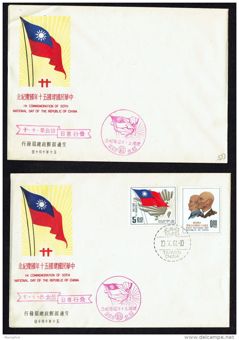1961  50th Anniversary Republic Of China  Sun Yat-sen Ching Kai-shek, Map, Flag  Souvenir Sheet Sc 1321-2a - 1945-... Republic Of China
