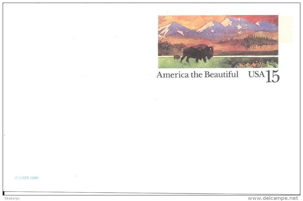 USA Postal Card - 1988 - America The Beautiful - Buffalo In The Prairie - UNUSED - Postal Stationery