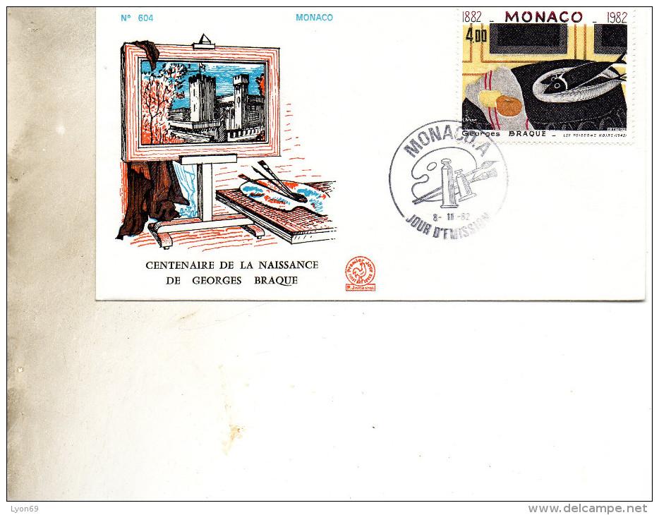 FDC  MONNACO    PEINTURE  GEORGES BRAQUE   N° YVERT   SUPRBE 1982348 - FDC