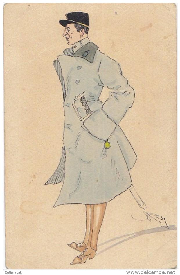Militaria - Man In Uniform W Sword Old Postcard Signed Rosy 1918 - Illustratori & Fotografie