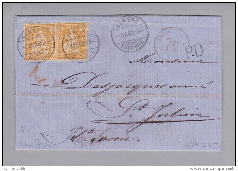 Schweiz Sitzende Helvetia Genève 1868-07-01 Grenzrayonbrief RL 2tes Gewicht - 1862-1881 Helvetia Assise (dentelés)