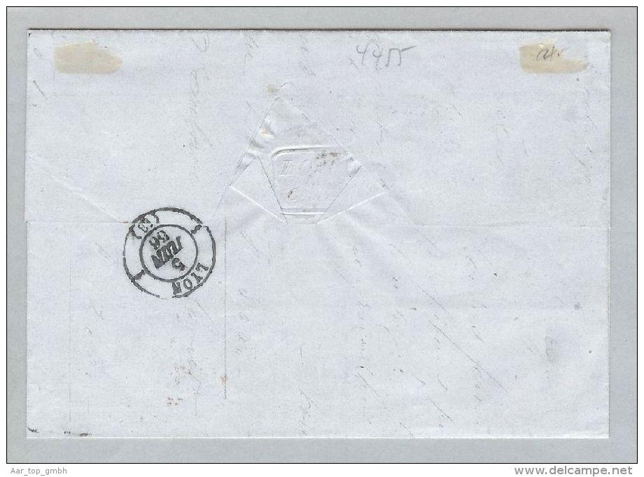 Schweiz Heimat GE Genève 1866-06-04 Brief Zu#35 60Rp.bronze>Lyon - 1862-1881 Helvetia Assise (dentelés)