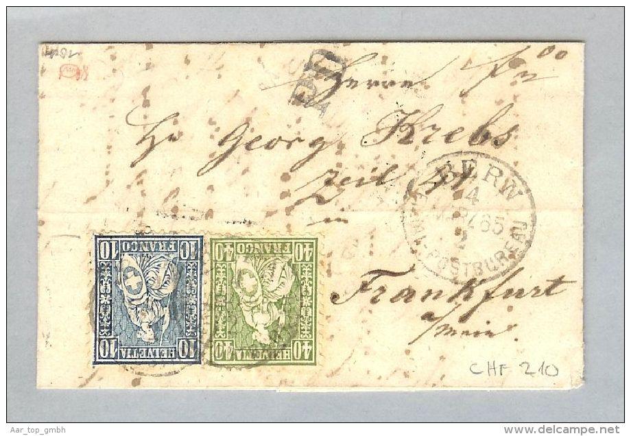 Schweiz Heimat BE Bern 1865-03-04 Brief Zu#31+34 Nach Frankfurt - 1862-1881 Helvetia Assise (dentelés)