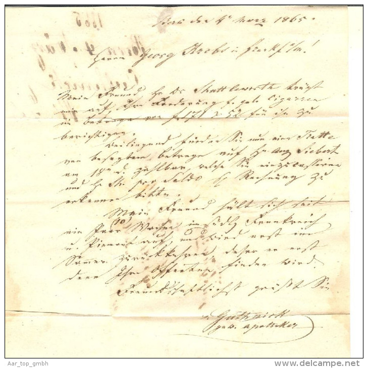Schweiz Heimat BE Bern 1865-03-04 Brief Zu#31+34 Nach Frankfurt - Lettres & Documents