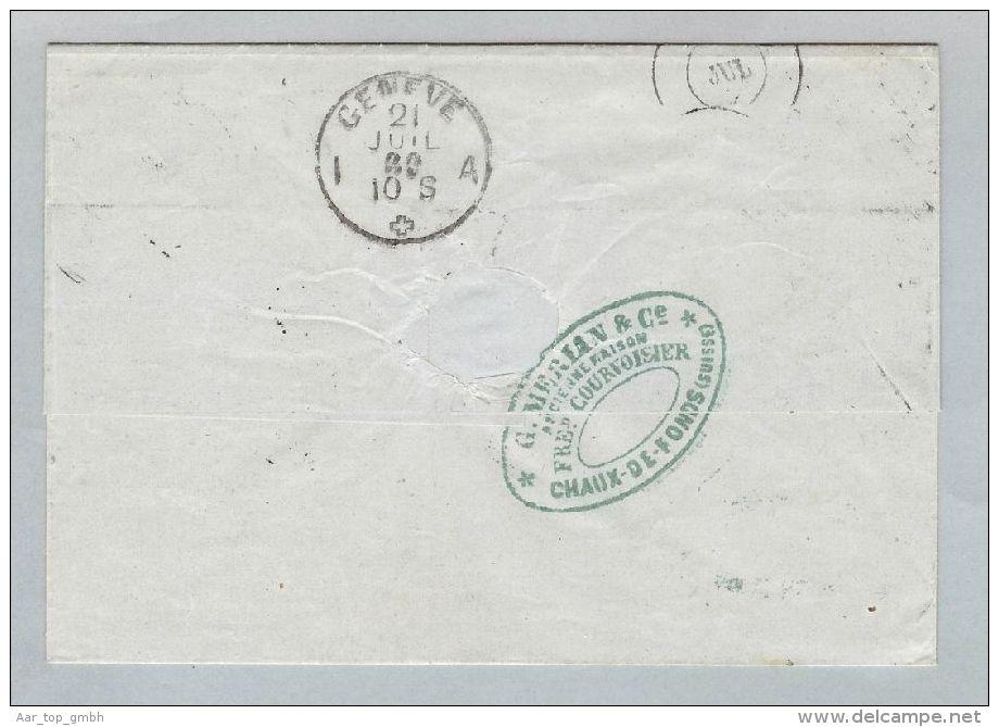 Schweiz Sitzende Helvetia 1869-07-21 Brief>Madrid Sitzende 2x50Rp.Zu#43 - 1862-1881 Helvetia Assise (dentelés)