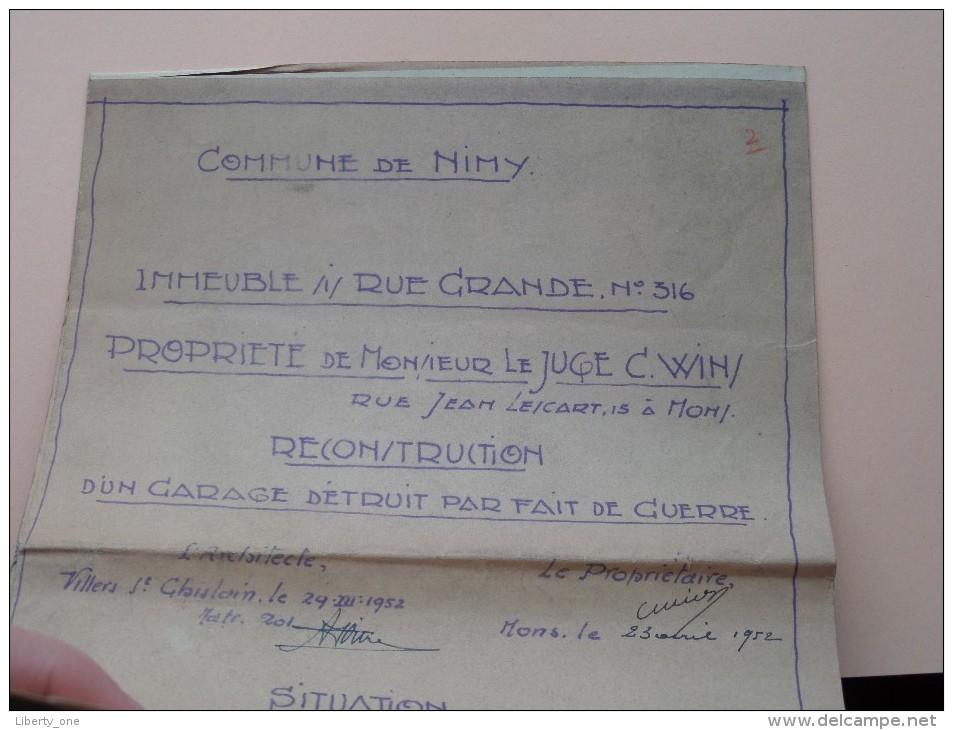 Commune De NIMY Rue GRANDE N° 316 ( Réconstruction ) Schaal 1/1250 - Anno 1952 ( Zie Foto´s Voor Detail ) ! - Architecture