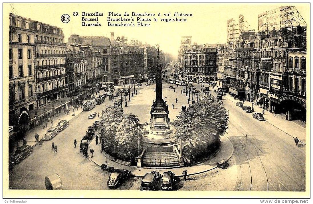 [DC2757] CPA - BELGIO - BRUXELLES - PALACE BRUXELLES PALACE DE BROUCKERE A VOL D'OISEAU - Non Viaggiata - Old Postcard - Monumenti, Edifici