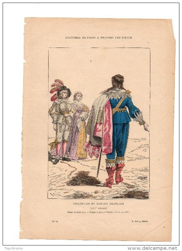 Gravure Coloriée Costumes De Paris à Travers Les Siècles Seigneurs Et Nobles Français N°39 Geffroy éditeur - Prints & Engravings