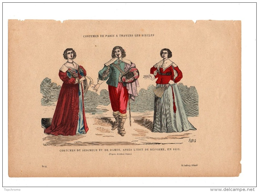 Gravure Coloriée Costumes De Paris à Travers Les Siècles Costumes De Seigneurs Et De Dames N°64 Garcia Geffroy éditeur - Prints & Engravings