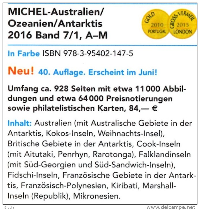Part 7/1+2 Australien MICHEL 2016 New 168€ Australia Cook Falkland Fiji Marshall Niue Norfolk Oceania Palau Tonga Tuvalu - Libros & Cds