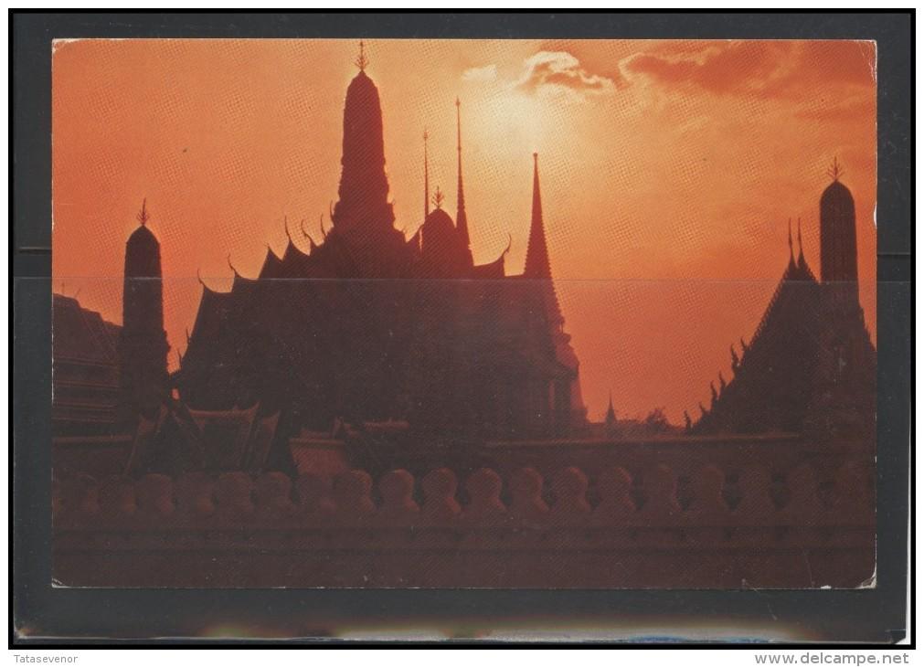 THAILAND Post Card Brief Postal History TH 001 Temple Meter Mark Franking Machine Thai Airways Aviation - Tailandia