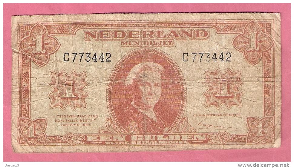 NEDERLAND 1 GULDEN 1945 - [2] 1815-… : Kingdom Of The Netherlands