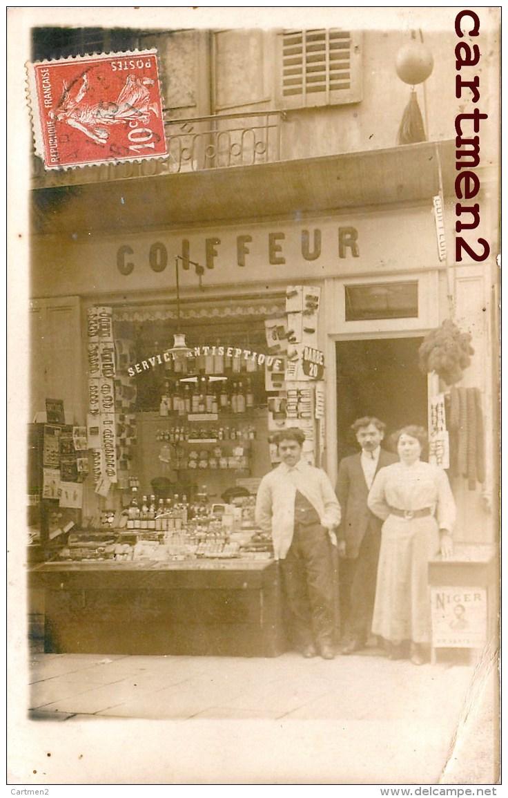 CARTE PHOTO : PARIS 283 RUE SAINT-JACQUES DEVANTURE SALON DE COIFFURE Mr GEORGES COIFFEUR COMMERCE MAGASIN 75005 - Arrondissement: 05
