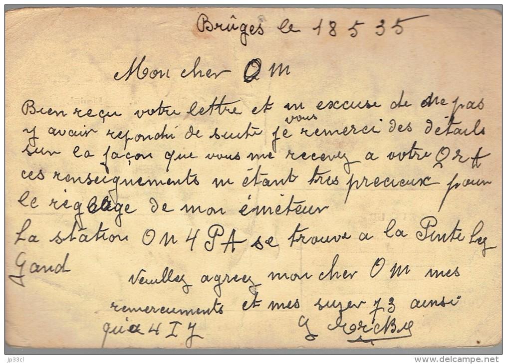 Ancienne Carte QSL De ON4RR G. Erck, Rue Du Verger, Brugge Bruges Belgique (18/5/1935) - Timbres