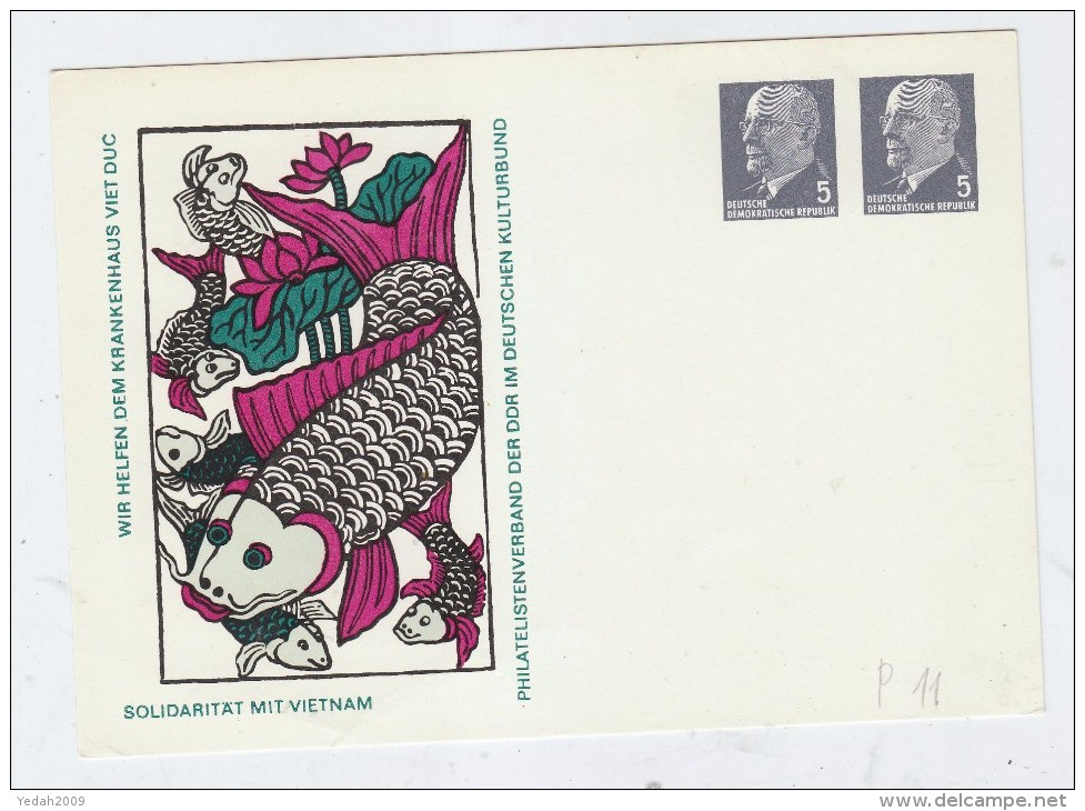 Germany SOLIDARITY WITH VIETNAM FISH FISHES POSTCARD - Fische