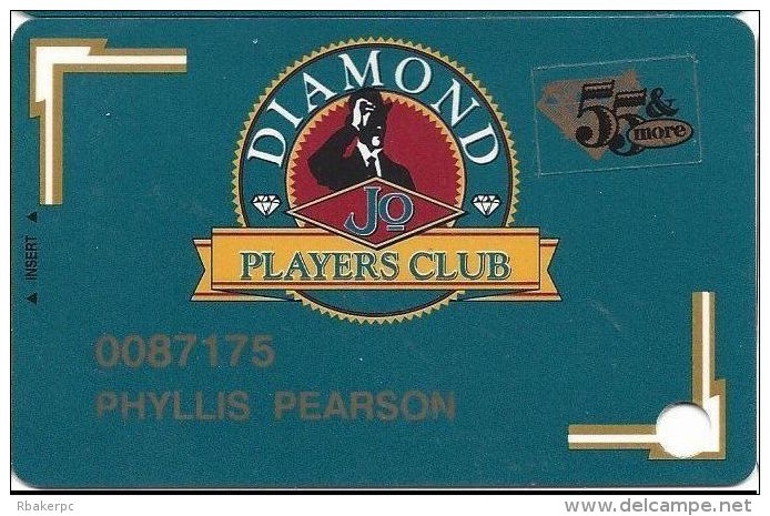 Diamond Jo Casino Dubuque, IA - 3rd Slot Card - Lt Gold Arrows In Corners - 55 & More Sticker - Casino Cards