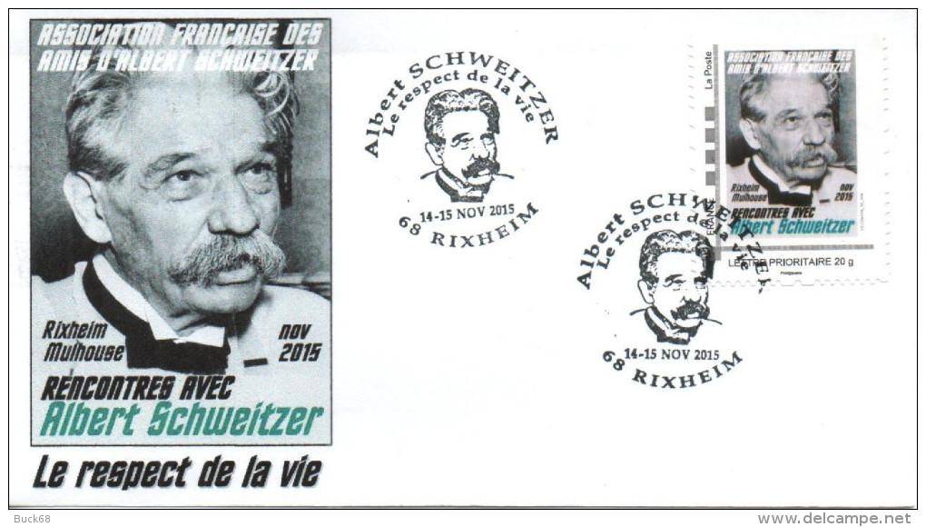 FRANCE 2015 FDC + Cachet + MonTimbraMoi MTAM SCHWEITZER Rencontres AFAAS Rixheim Nobel 1 - Albert Schweitzer