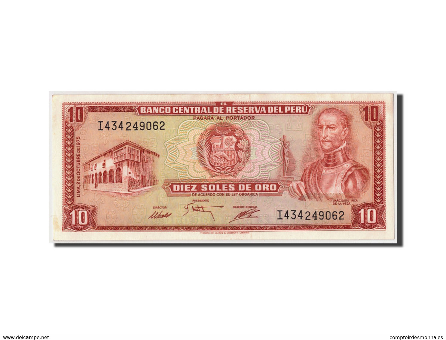 Pérou, 10 Soles De Oro, 1975, KM:106, 1975-10-02, SPL - Pérou