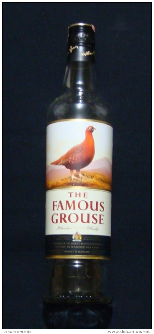 THE FAMOUS GROUSE SCOTCH WHISKEY GLASS BOTTLE WITH PACKAGE, VERY RARE, ALBANIA EDITION WITH ALBANIAN FISCAL REVENUE STAM - Whisky