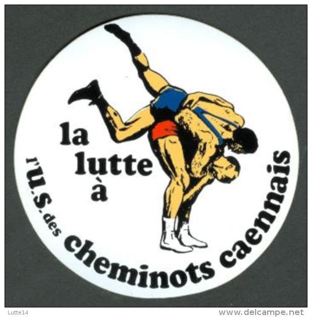 Autocollant Union Sprtive Des Cheminots Caennais Section Lutte -sport Caen - Wrestling