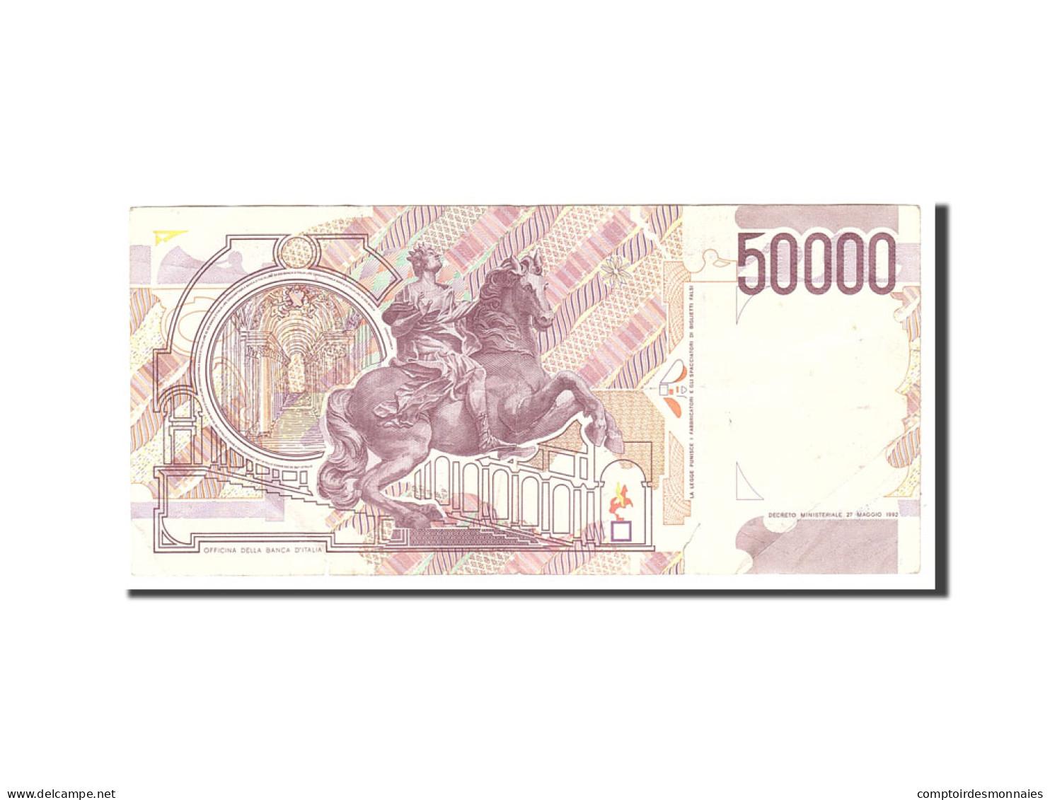 Italie, 50,000 Lire, 1992, KM:116c, 1992-05-27, TB - [ 2] 1946-… : République