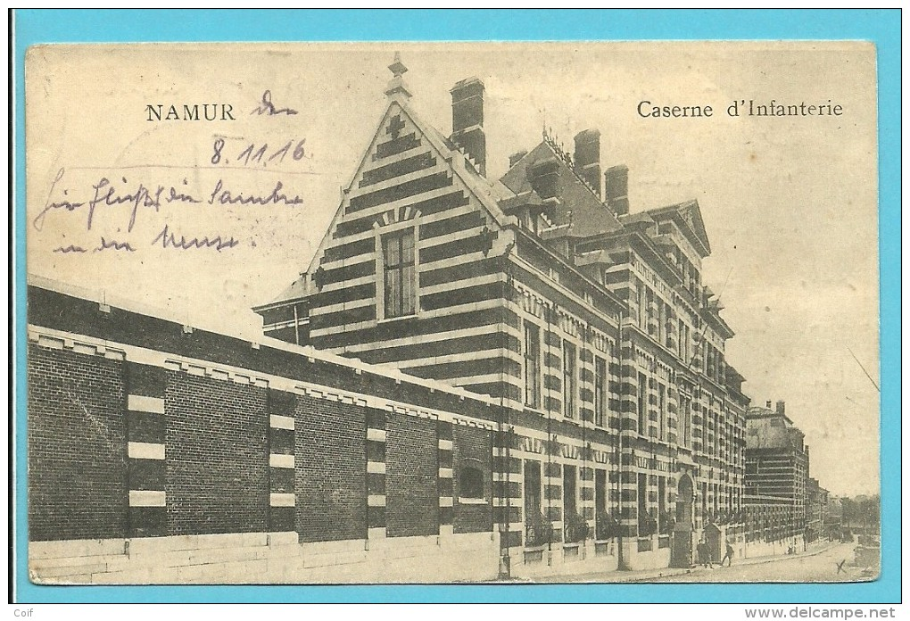 Kaart NAMUR (Caserne D'Infanterie) (8/11/16) Naar Mulhausen - Guerre 14-18