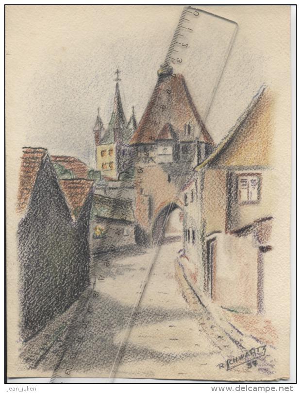 67 - CHATENOIS - Porte D'Entrée - DESSIN - Signé R. SCHWARTZ - 1937 - Populaire Kunst