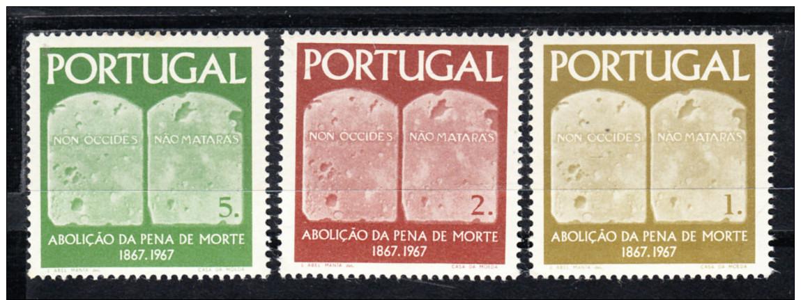 PORTUGAL.1967.CENTENÁRIO ABOLIÇÂO PENA DE MORTE .AFINSA Nº 1017/1019   NOVOS SEM CHARNEIRA.SES299GRANDE - 1910-... República