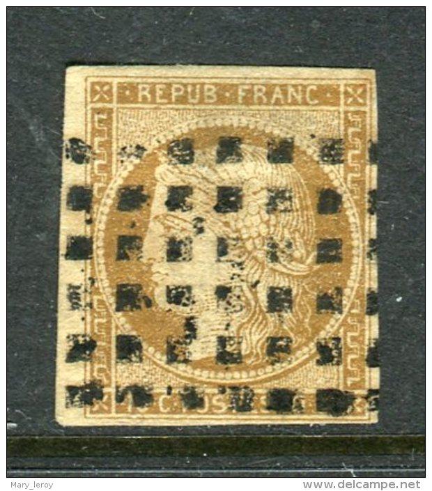 Superbe N° 1a Bistre Brun Cachet Gros Points Signé Calves - 1849-1850 Cérès
