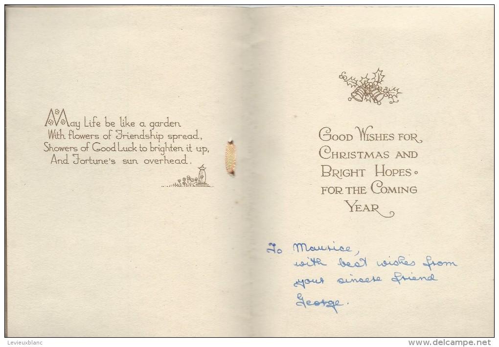 Carte De Voeux/Anglaise /Wishes Christmas And Coming Year/Jardin Fleuri  Avec Bassin /Valentine'sVers 1940-50      CVE85 - Nieuwjaar