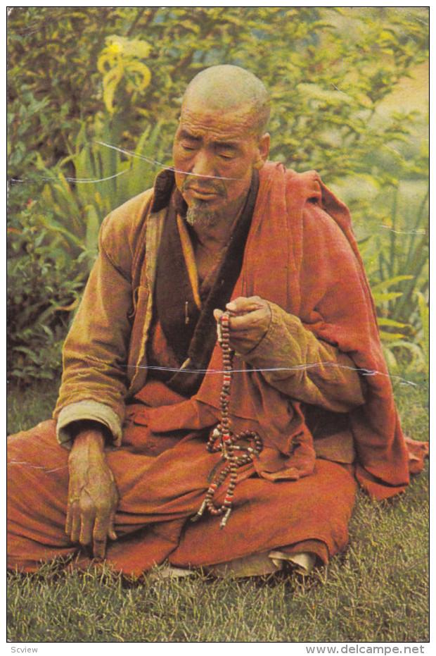 BHUTAN , PU-1978 , A Lama In Deep Prayer - Bhoutan
