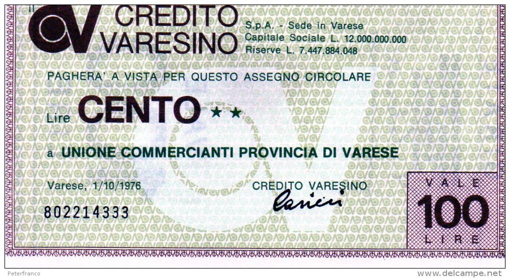 Italia - Miniassegno Credito Varesino - Varese 1976 - Non Classés
