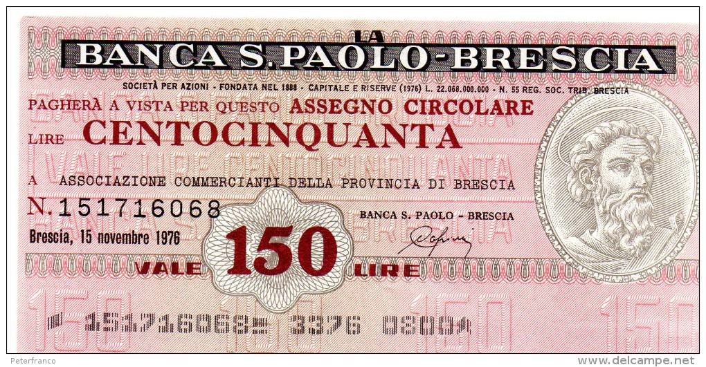 Italia - Miniassegno Banca San Paolo - Brescia 1978 (leggera Piega Centrale) - Monnaies & Billets