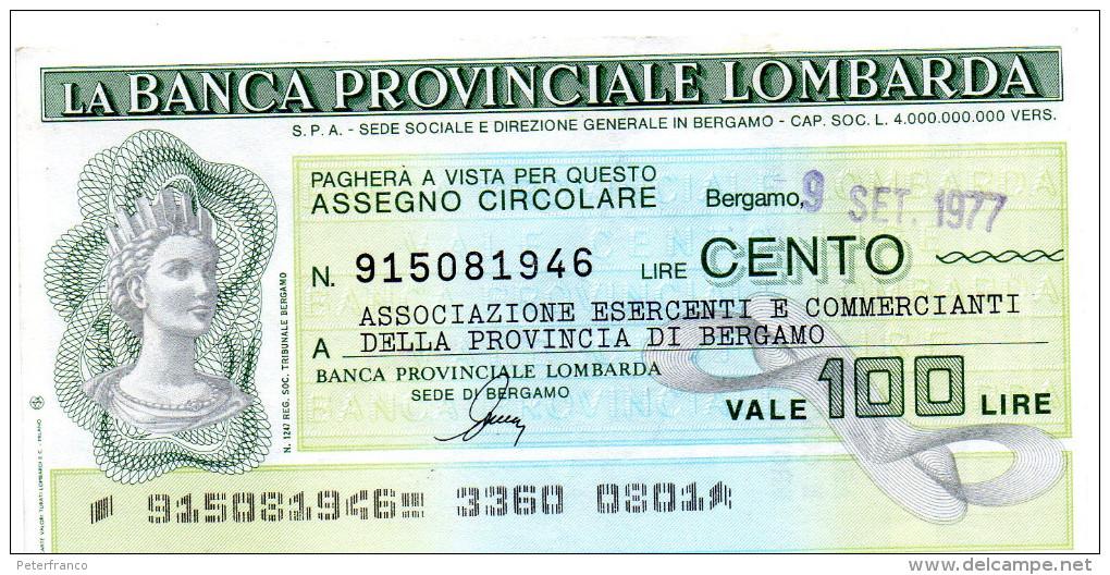 Italia - Miniassegno Banca Provinciale Lombarda - Bergamo 1977 (leggera Piega Centrale) - Monnaies & Billets