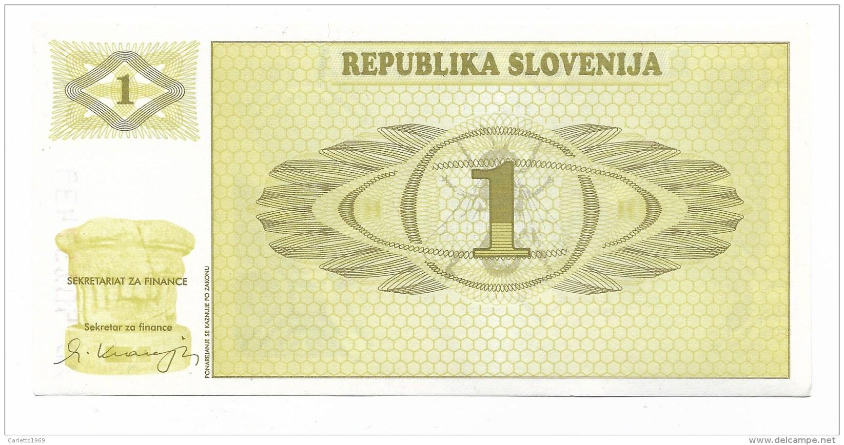 BANCONOTA SLOVENIA 1 TALLERO FDC - Slovénie