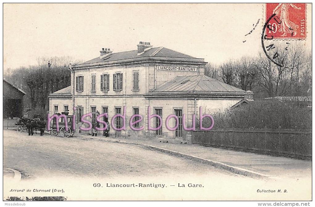 60 - LIANCOURT RANTIGNY - La Gare - Diligence 1907  - 2 Scans - Liancourt