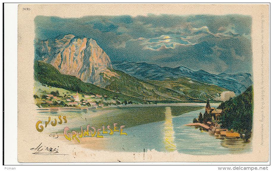 ÖESTERREICH, Gruss Aus GRUNDELSEE (bei Nacht), # 5095,  Von Regel & Krug, PU 1900 - Aquarellkarte - Autriche