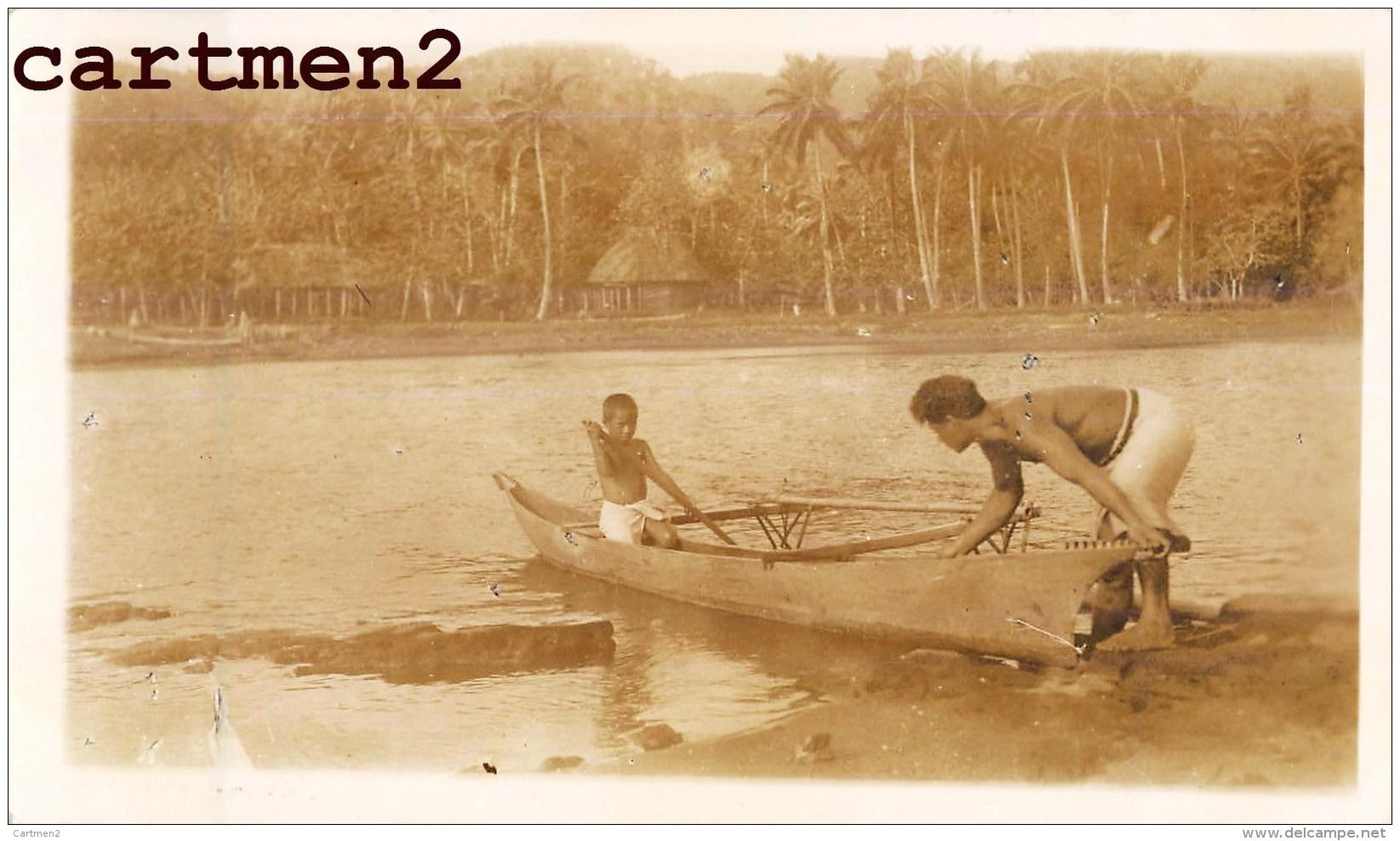 ILES SAMOA ENFANTS EN BARQUE VILLAGE OCEANIE ETHNOLOGIE - Samoa