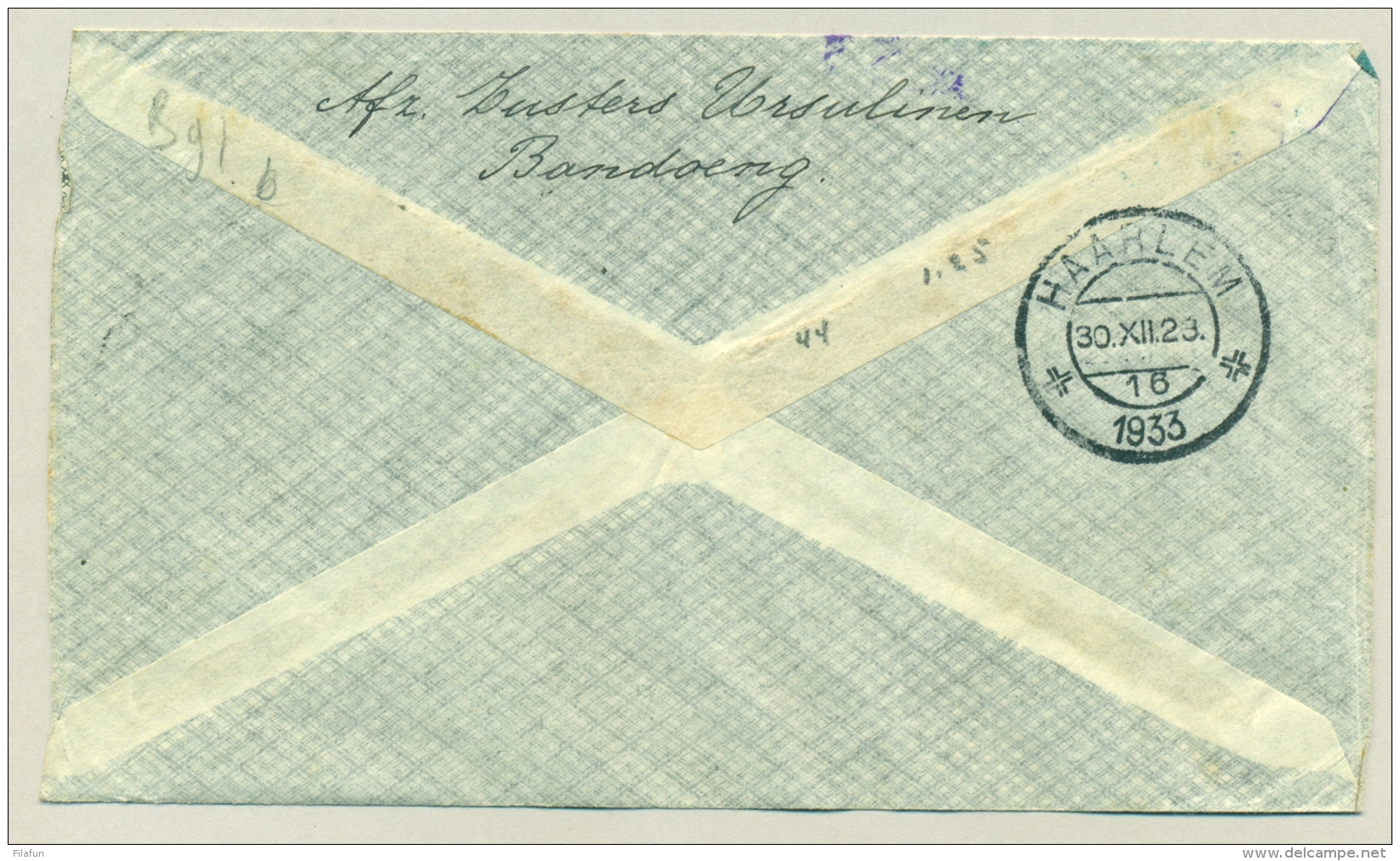 Nederlands Indië - 1933 - Pelikaan Vlucht Van Bandoeng / Batavia-Centrum Naar Haarlem - Nederlands-Indië