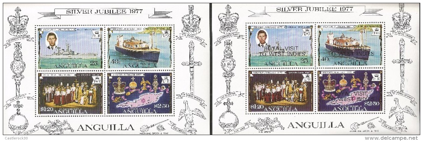 E)1977 ANGUILLA, SILVER JUBILEE, ROLYALTY,  PRINCE CHARLES AND HMS MINERVA, SURCHARGE ROYAL VISIT TO WEST INDIES, SOUVEN - Anguilla (1968-...)
