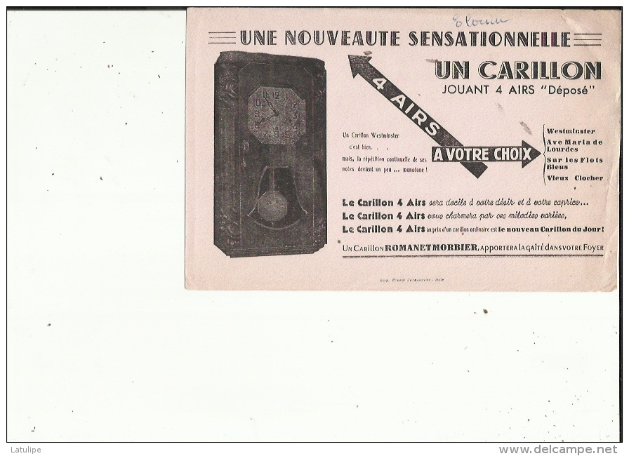 Buvard G F_des Ets ROMANET  MORBIER 39   Une Nouveauté_ Carillon Jouant 4 Airs - Blotters