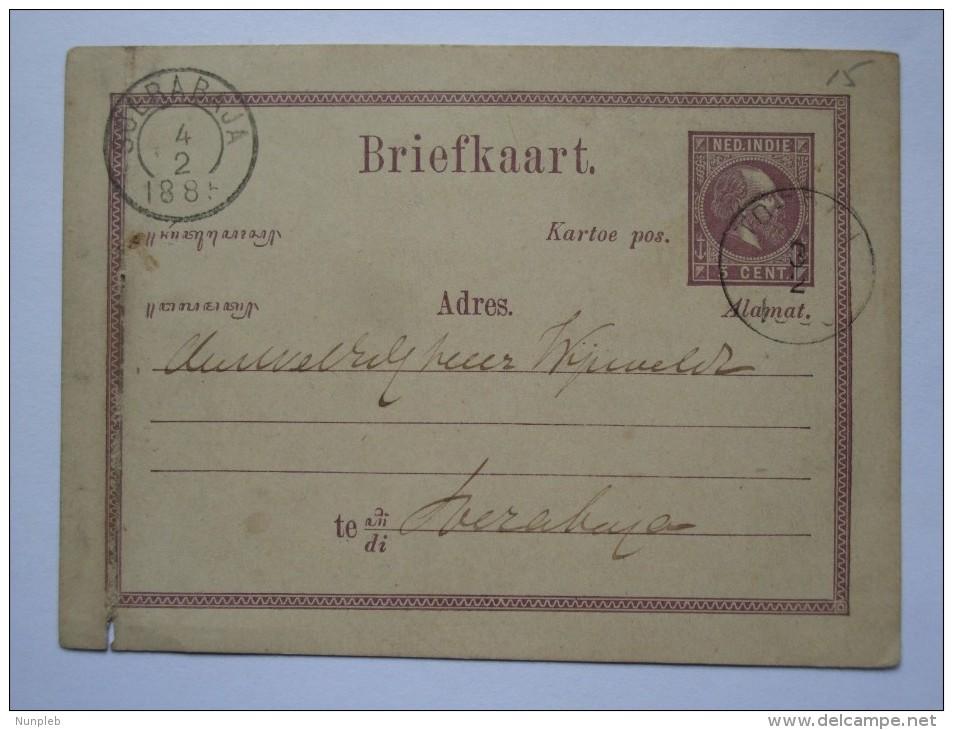 NETHERLANDS INDIES 1885 STATIONARY CARD SOERABAJA / SURABAYA POSTMARK - Niederländisch-Indien