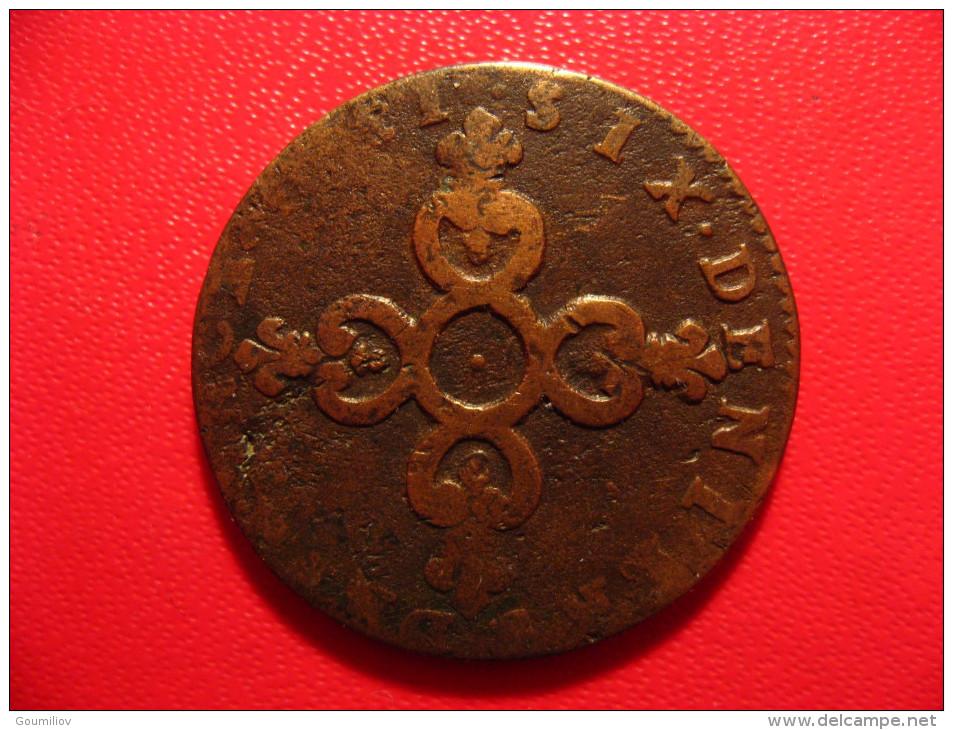 6 Deniers Dardenne 1711 H La Rochelle Louis XIV - Légende Fautée Fautive A Et V En V Et A Inversés 9020 - 1643-1715 Louis XIV Le Grand