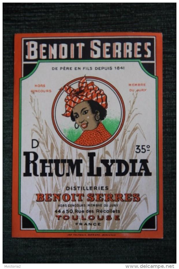 """ETIQUETTE """" RHUM LYDIA  """", DIstillerie Benoit SERRES  à TOULOUSE. - Rhum"""